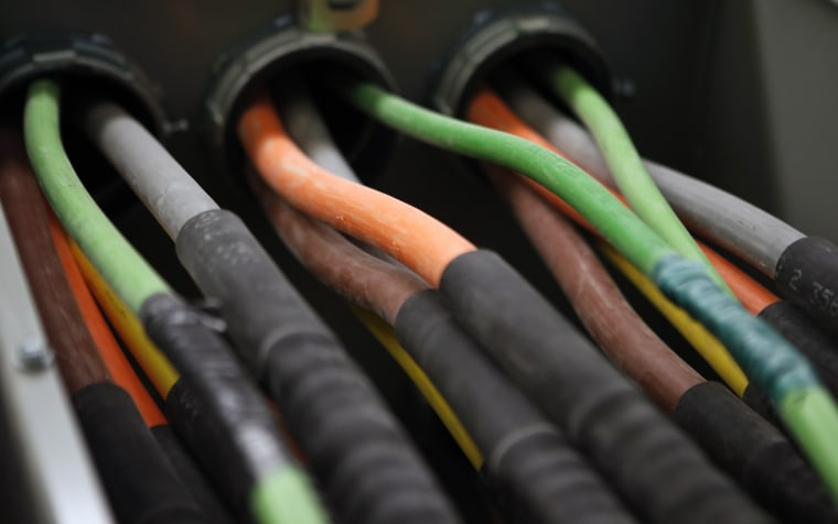 Fiber optic cables carrying internet providers are seen running into a server room at Intergate.Manhattan, a data center owned and developed by Sabey ...