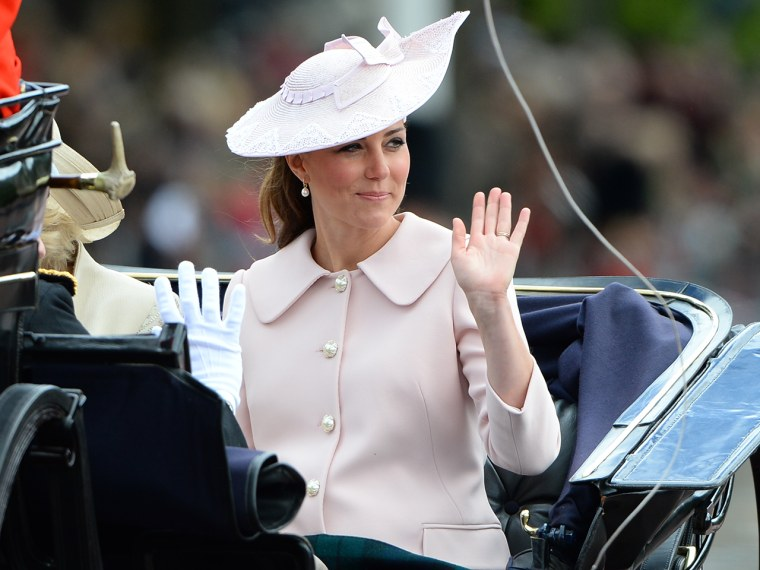 LONDON, ENGLAND - JUNE 15:  Catherine Duchess of Cambridge, travels by carriage along The Mall to the annual Trooping The Colour ceremony at Horse Gua...
