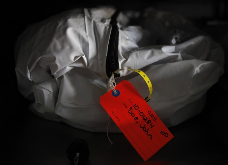 A bag containing an unidentified body tagged as
