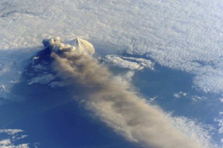 The Pavlof Volcano in Alaska, seen here on May 18, has sent a plume of cinders 5 miles into the sky.
