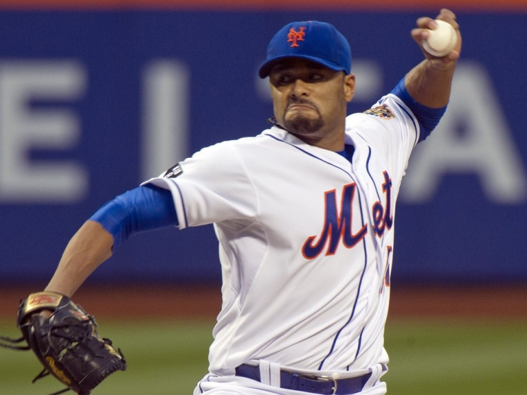 New York Mets starting pitcher Johan Santana throws a pitch to the St. Louis Cardinals in the first inning of their MLB National League game at CitiFi...