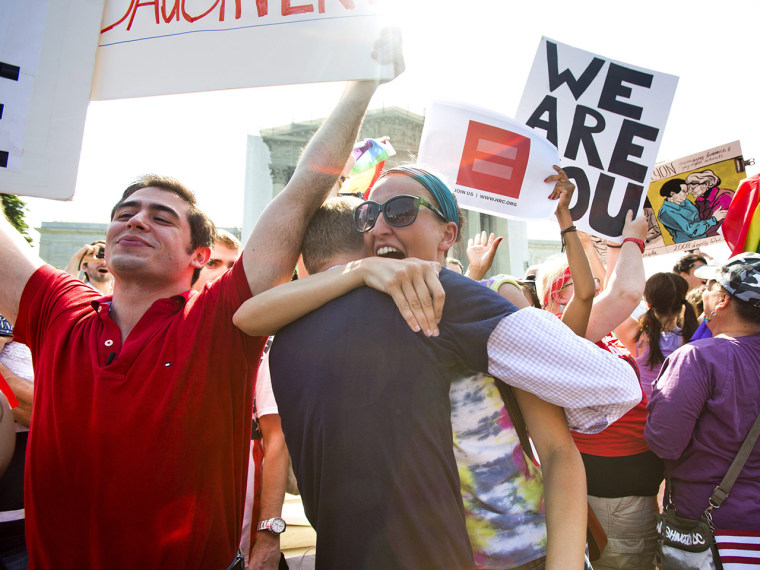 Unrestrained exultation by gay rights supporters greeted the two landmark Supreme Court decisions on Wednesday.