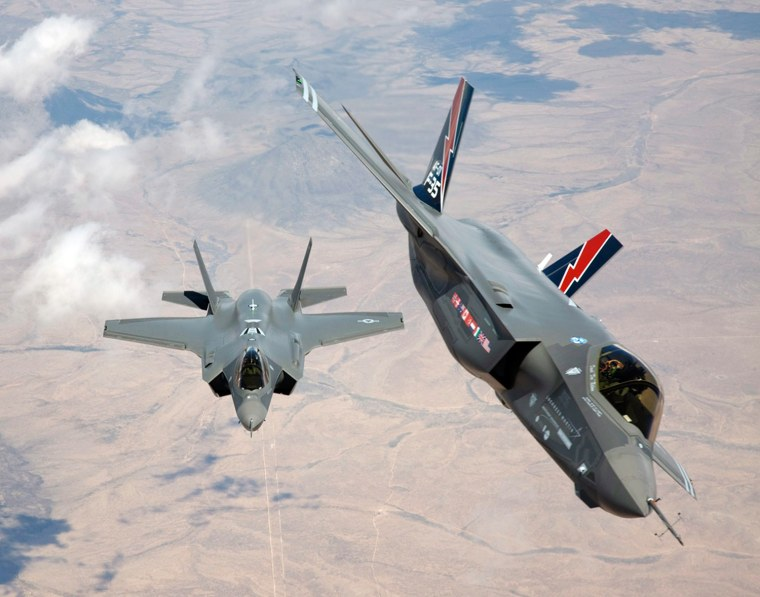 epa03673797 A undated Lockheed Martin Aeronautics handout image made available by Lockeed Martin showing F-35 AF-1 and AF-2 upon their arrival at Edwa...