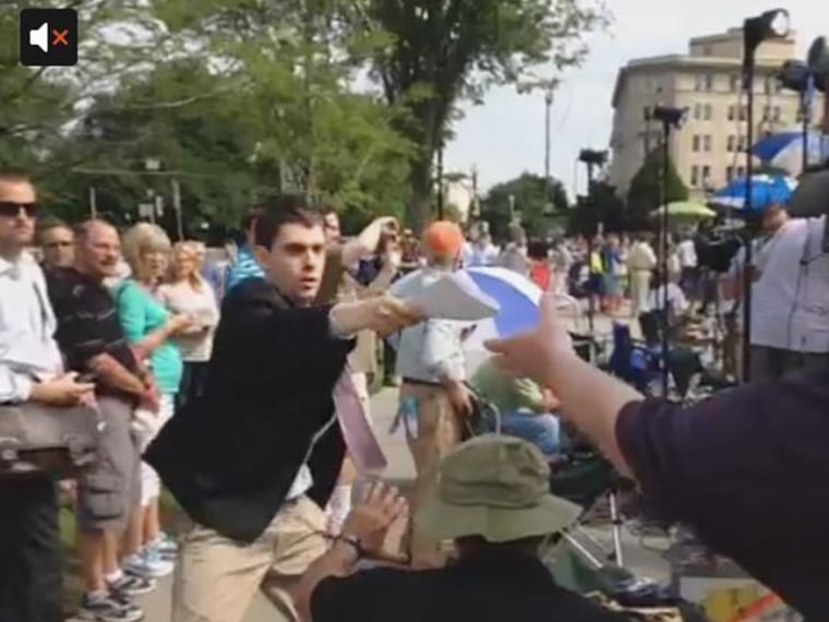 This young man won the 'foot race of interns.'
