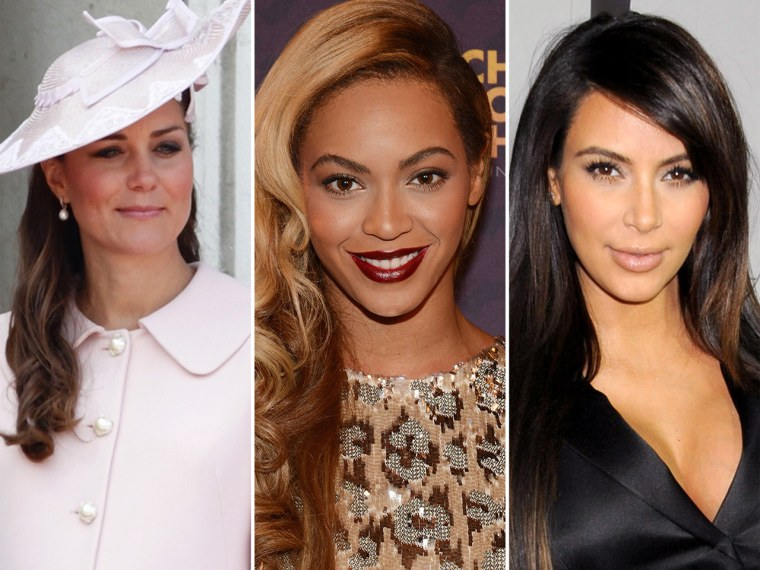 Kate Middleton, Beyonce and Kim Kardashian.