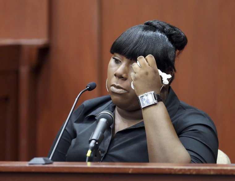 Rachel Jeantel, the witness that was on the phone with Trayvon Martin just before he died, gives her testimony during George Zimmerman's trial in Seminole circuit court in Sanford, Fla., on June 26. Zimmerman has been charged with second-degree murder for the 2012 shooting death of Trayvon Martin.