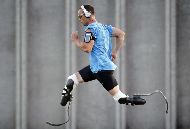 Oscar Pistorius pictured training in Italy ahead of the London 2012 Olympics.