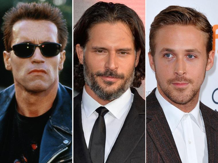 Image: Arnold Schwarzenegger, Joe Manganiello, Ryan Gosling.