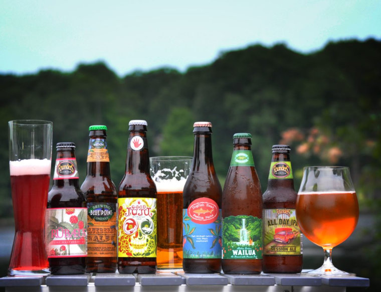 6 red, white and blue(berry) beers for the Fourth of July