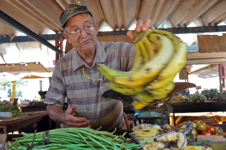 An elderly man sells fruit and vegetables in a market of Havana, on April 20, 2012. AFP PHOTO (Photo credit should read STR/AFP/Getty Images)