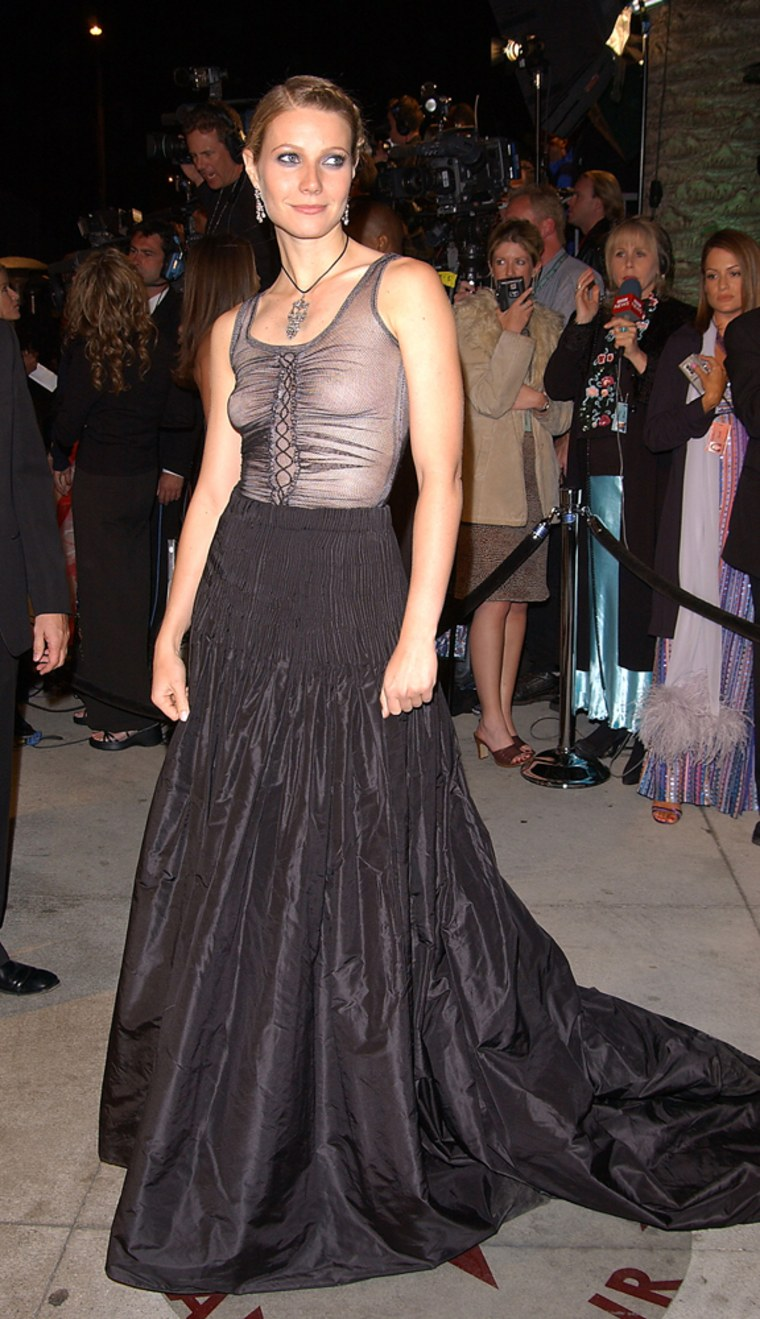 Actress Gwyneth Paltrow attends the Vanity Fair Oscar Red carpet regrets: Actress Gwyneth Paltrow wore Alexander McQueen to the Oscars on March 24, 2002 in West Hollywood, CA.