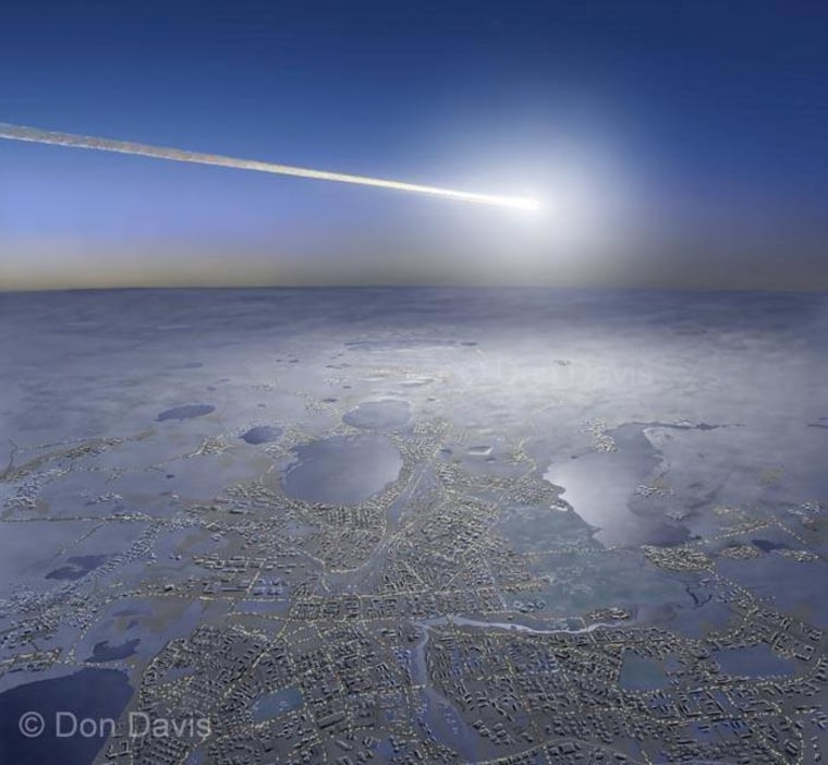 Artwork by Don Davis shows a meteor streaking over Chelyabinsk. More of Davis' art can be seen on his website.
