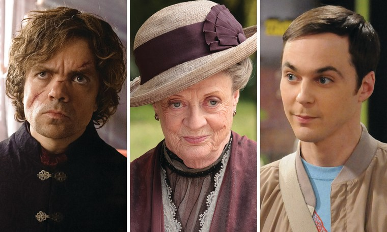 """Peter Dinklage as Tyrion Lannister on """"Game of Thrones,"""" Maggie Smith as the Dowager Countess on """"Downton Abbey,"""" and Jim Parsons as Sheldon Cooper on """"Big Bang Theory."""""""