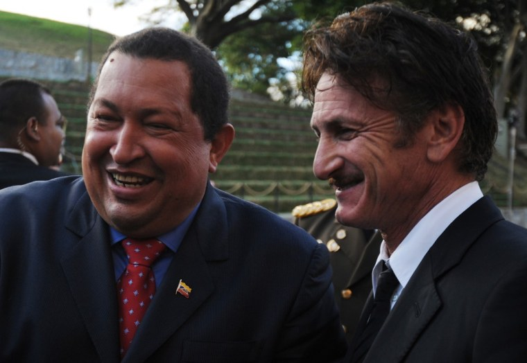 Venezuelan President Hugo Chavez and Sean Penn together on Feb. 16, 2012.
