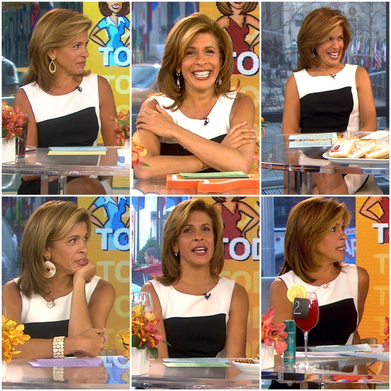 Hoda just can't get enough of her black and white dress (pictured here in six different appearances over the last fourteen months).
