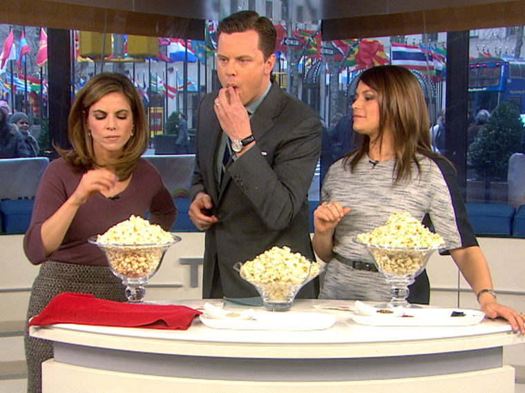 Which one is their favorite? Natalie and Willie try a sample of Gail Simmons' flavored popcorn.