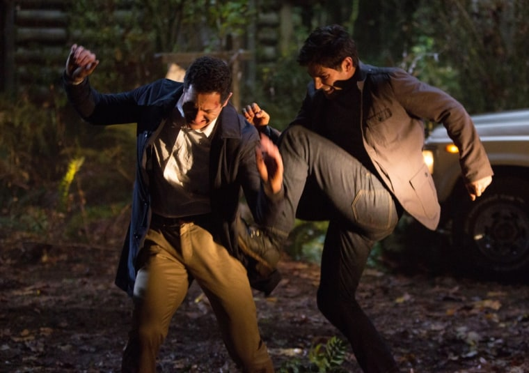 It's never a good idea to beat up your boss! But Det. Nick (right, played by David Giuntoli) certainly has an understandable reason for giving boss Capt. Renard (Sasha Roiz) a beating.