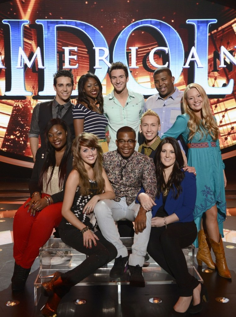 The finalists of season 12 are, from top left, Lazaro Arbos, Amber Holcomb, Paul Jolley, Curtis Finch Jr., Janelle Arthur, Kree Harrison, Devin Velez, Burnell Taylor, Angie Miller and Candice Glover.