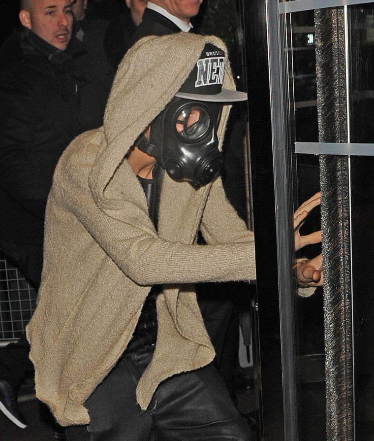 Justin Bieber wore a gas mask in London on Wednesday.