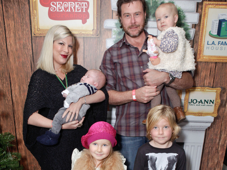 Actress Tori Spelling with son Finn, husband Dean McDermott with daughter Hattie, daughter Stella and son Liam atte...
