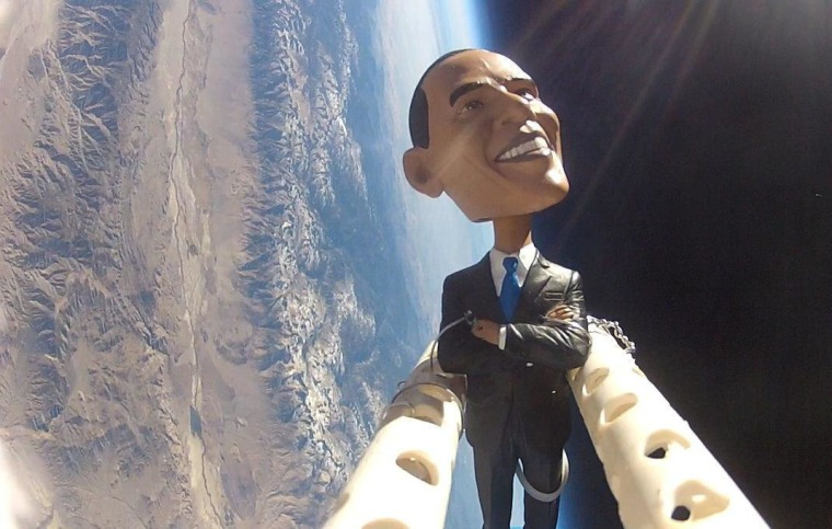The students of the Earth to Sky project sent a bobblehead doll of President Barack Obama flying on a weather balloon over Owens Valley, CA, on Nov. 5, 2012, in honor of Election Day.