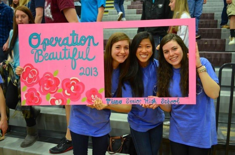 Operation Beautiful organizers Madeline Milby (left), Binna Kimm and Monica Plenger pose for a makeup-free picture.