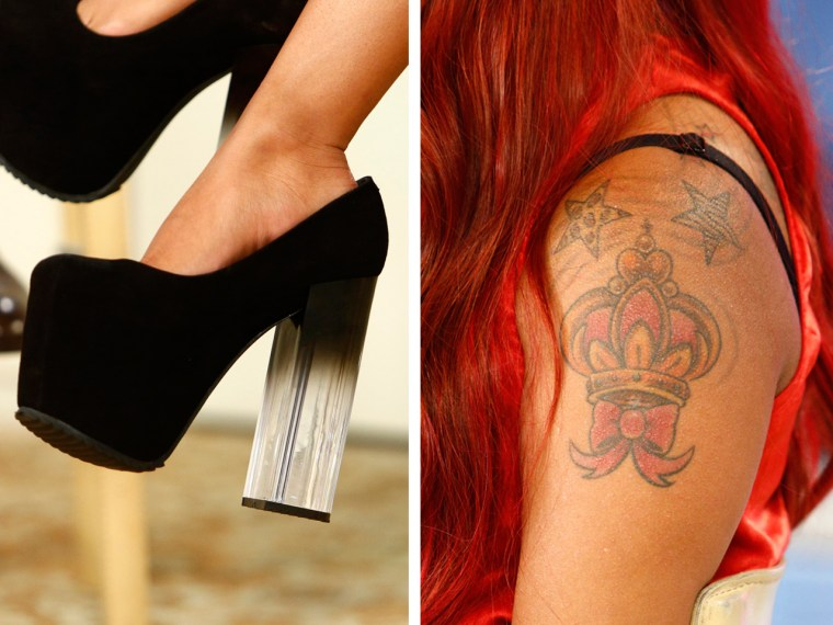image: Snooki shows off her UNIF heels and a crown tattoo she got in Las Vegas.