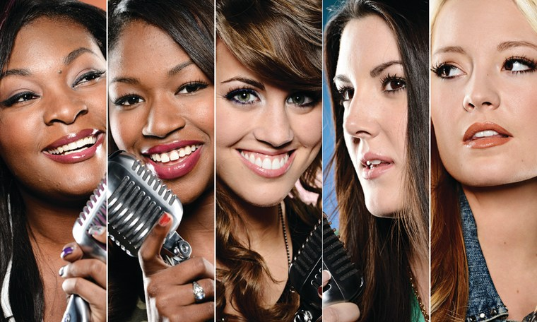 """""""American Idol's"""" female finalists, from left, Candice, Amber, Angie, Kree and Janelle."""