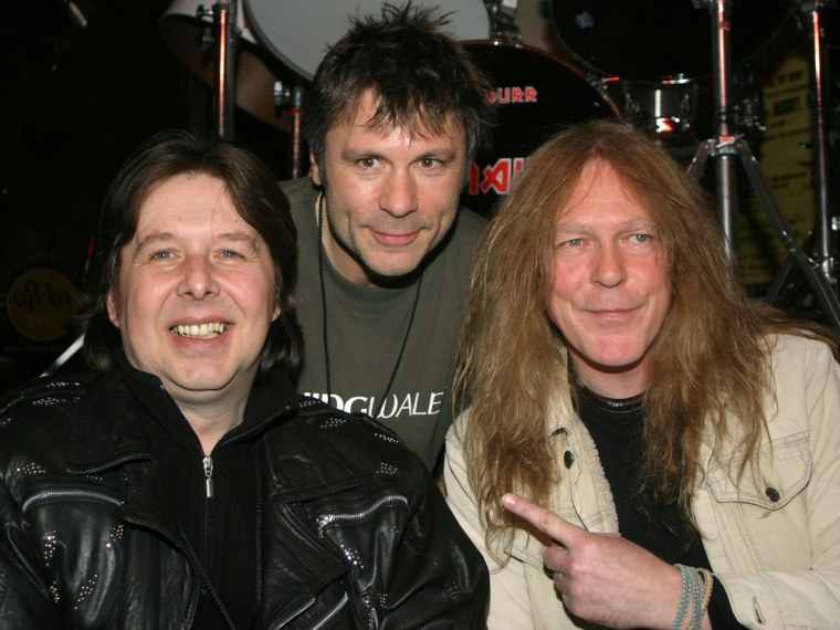 Clive Burr, left, Bruce Dickinson and Dave Murray of Iron Maiden.