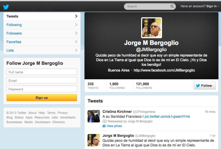 @JMBergoglio Twitter page