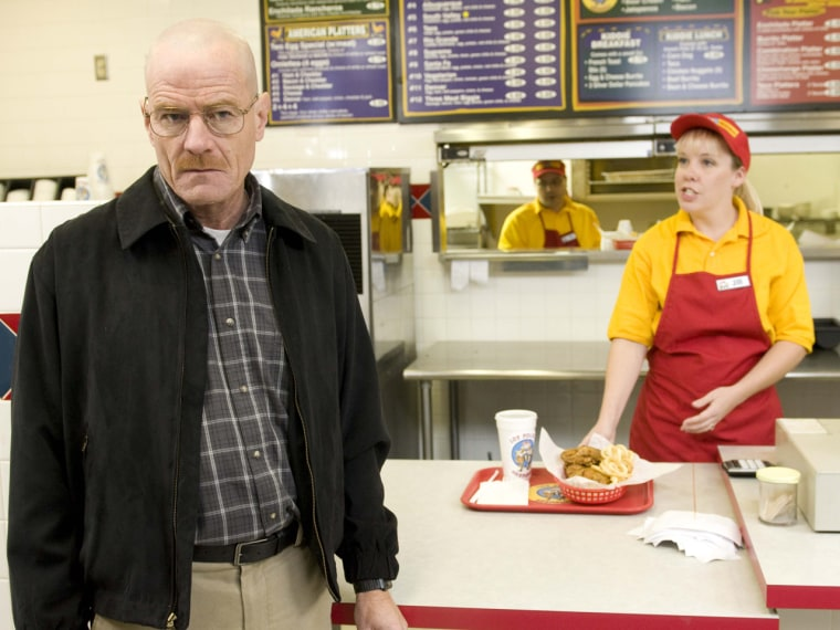 Bryan Cranston as his 'Breaking Bad' character Walter White, at the fictional restaurant 'Los Pollos Hermanos.'