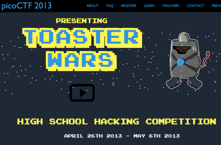 Web page for hacking competition