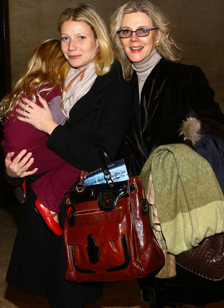 Actress Blythe Danner (R) accompanies her daughter actress Gwyneth Paltrow (C) holding her daughter Apple Martin as they attend the Nutcracker Family Benefit presented by New York City Ballet at the New York State Theater December 8, 2007 in New York City.  Paltrow also has a son, Moses.