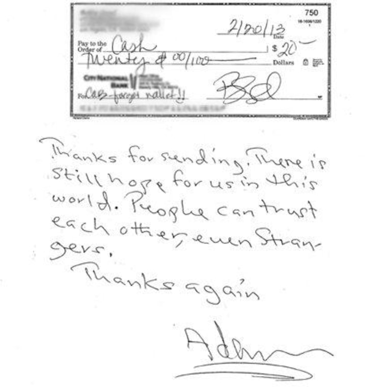 A note from the cab driver, thanking Bobbie Thomas.