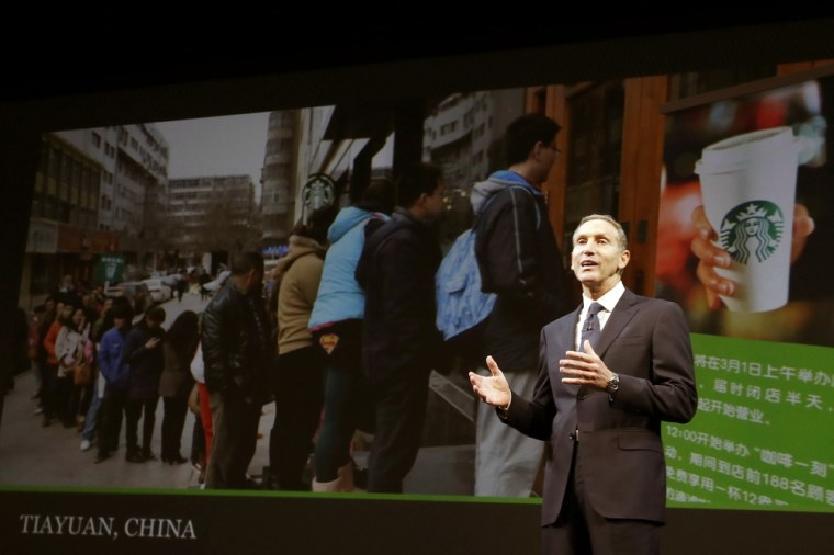 Starbucks CEO Howard Schultz speaks about the company's growth in China at Starbucks' annual shareholders meeting on Wednesday in Seattle, Wash.