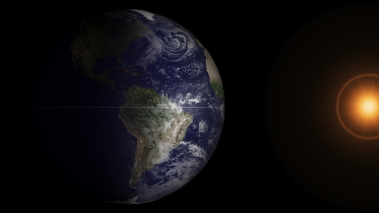 The GOES-13 satellite captured this full-disk image of our planet at 7:45 a.m. ET on March 20, just after the 7:02 a.m. ET equinox. The satellite image shows how Earth's two hemisphere receive equal amounts of sunlight during the equinox. In this image, the sun is artificially created to enhance the picture.
