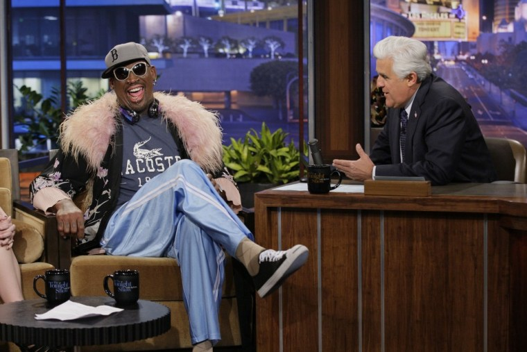 "Dennis Rodman on ""The Tonight Show"" with Jay Leno on Tuesday, March 19."