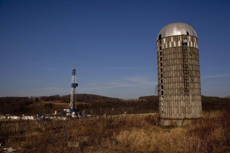 This Jan. 7, 2012, file photo shows a natural gas well in a rural fieldin Bradford County, Pa.