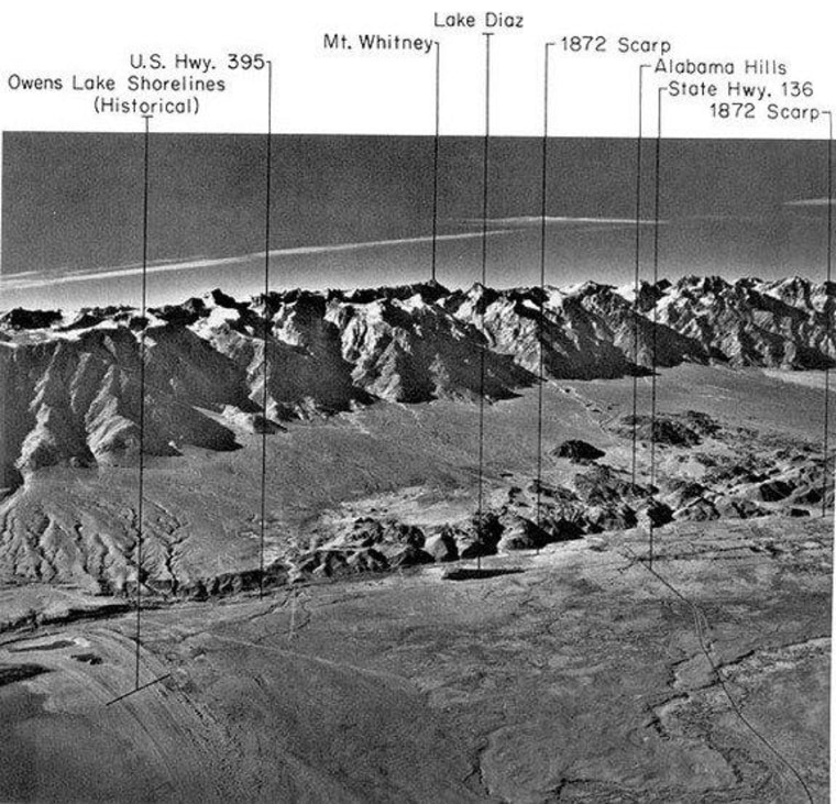 The well-known Owen Valley Fault and the Sierra Nevada Mountains in California.