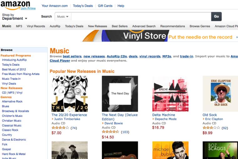 Amazon's music website