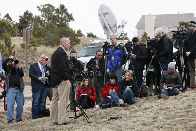 Lieutenant Jeff Kramer, public affairs officer for the El Paso County sheriff's office, briefs reporters on the investigation of the murder of the head of Colorado state's prison system in Monument, Colo., on March 20.