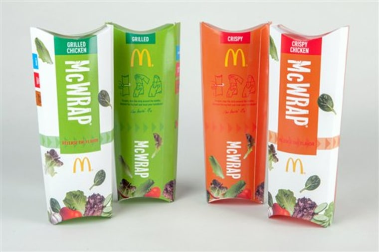 This product image provided by McDonald's shows packaging for the restaurant's new chicken McWrap sandwich wraps. The world's biggest hamburger chain ...