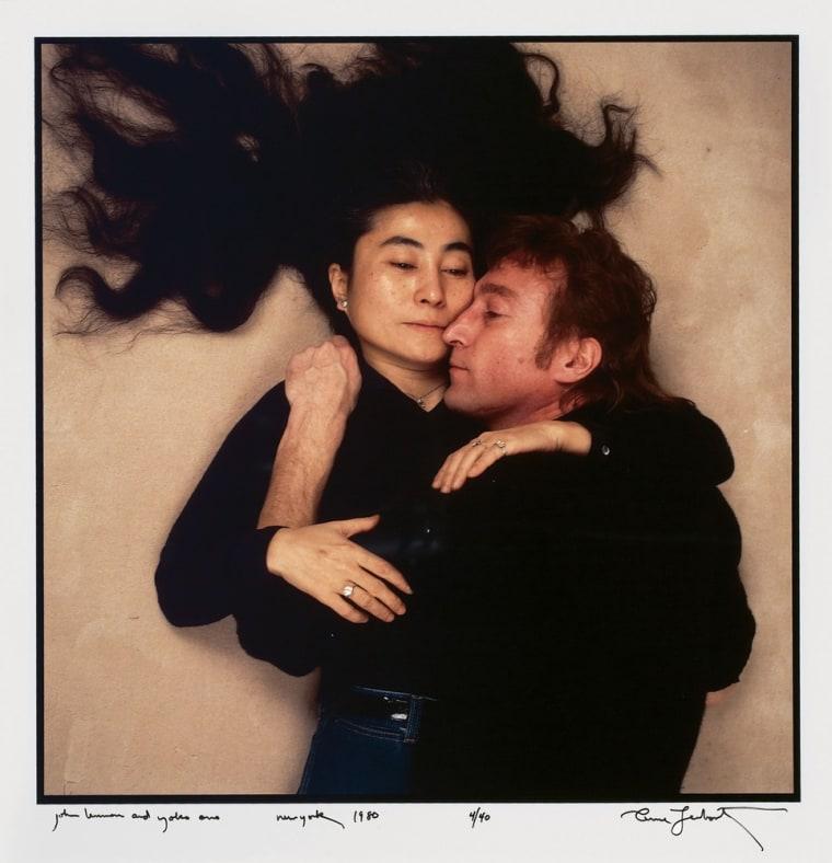 John Lennon and Yoko Ono in December 1980 on the last day of Lennon's life.
