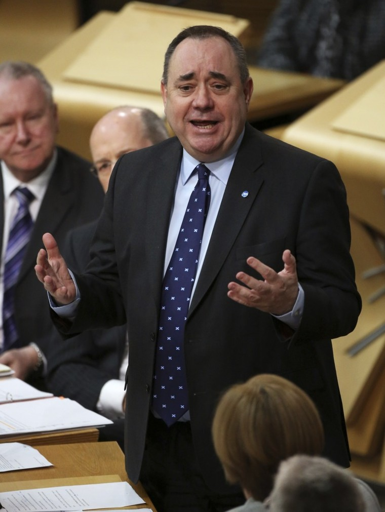 First Minister Alex Salmond answers questions at the Scottish Parliament in Edinburgh, Scotland, on Thursday.
