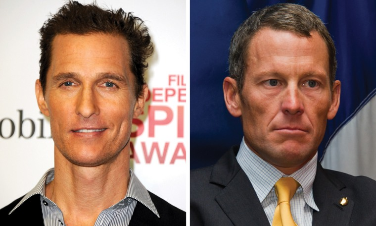 Actor Matthew McConaughey, left, and cyclist Lance Armstrong.