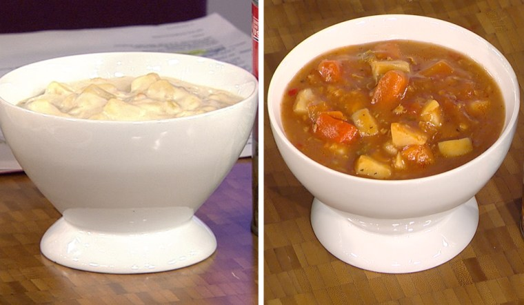 On the left: New England clam chowder. On the right: Manhattan clam chowder.