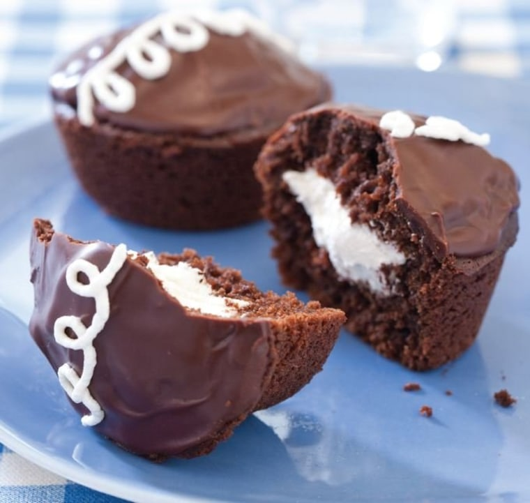 The chocolate cream cupcakes, reminiscent of Hostess cakes, are one of Chris Kimball's favorites.