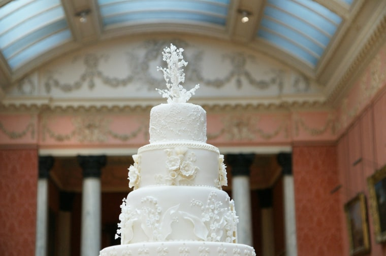 The eight-tier royal wedding fruitcake features almost 900 flowers. Now do you wish you were at the royal luncheon today?