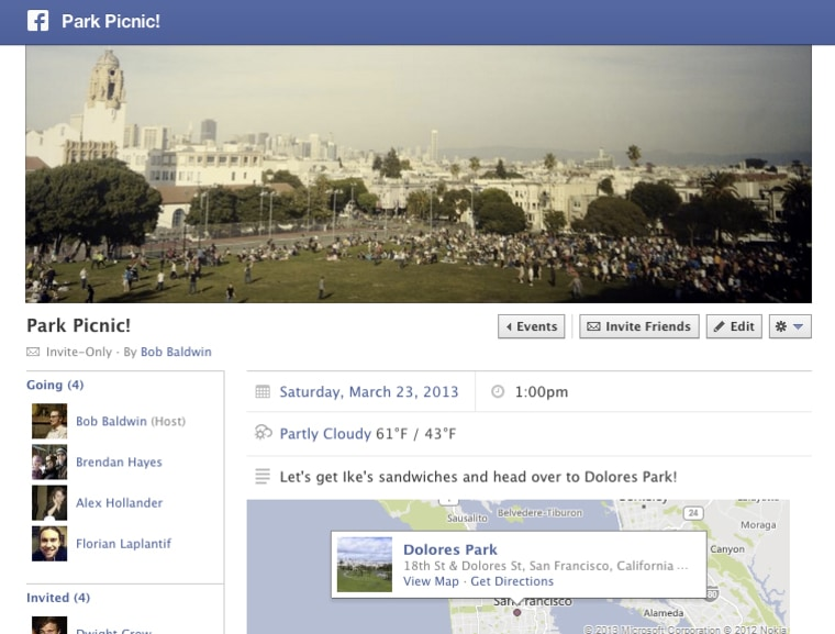 Facebook event showing weather forecast.