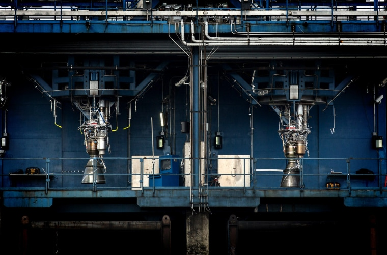 Two of SpaceX's Merlin 1D engines sit on a test stand at the company's rocket-development facility in McGregor, Texas